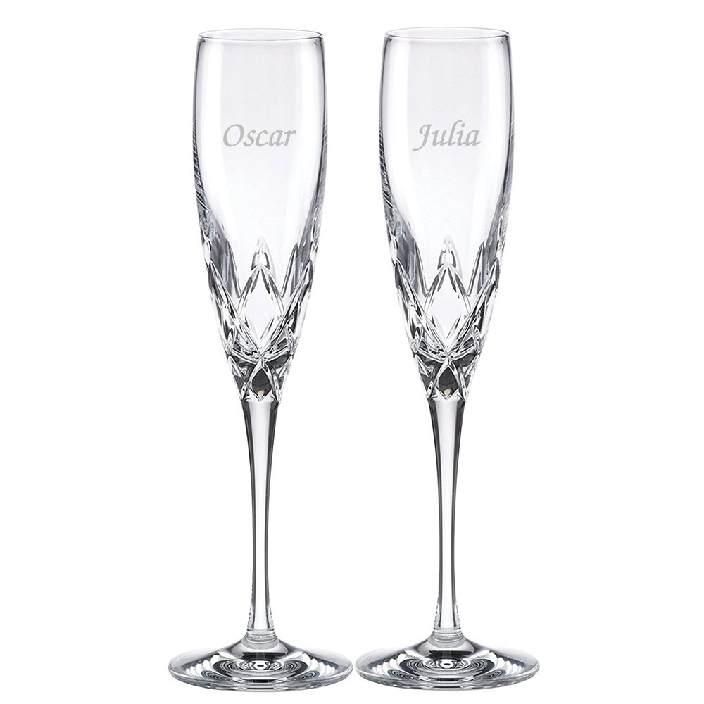 Custom Lenox Venetian Lace Signature Champagne Flute Pair, Set of 2 Flutes, Personalized Venetian Lace Toasting Flutes, Personalized Wedding Flutes, Monogrammed Flutes, Crystal Champagne Flutes