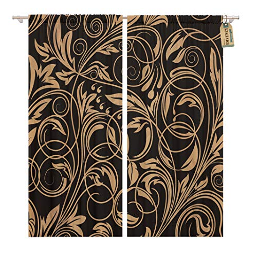 Gold Swirl Pattern - Golee Window Curtain Flower Floral Pattern Gold Swirl Black Vintage White Retro Home Decor Rod Pocket Drapes 2 Panels Curtain 104 x 84 inches