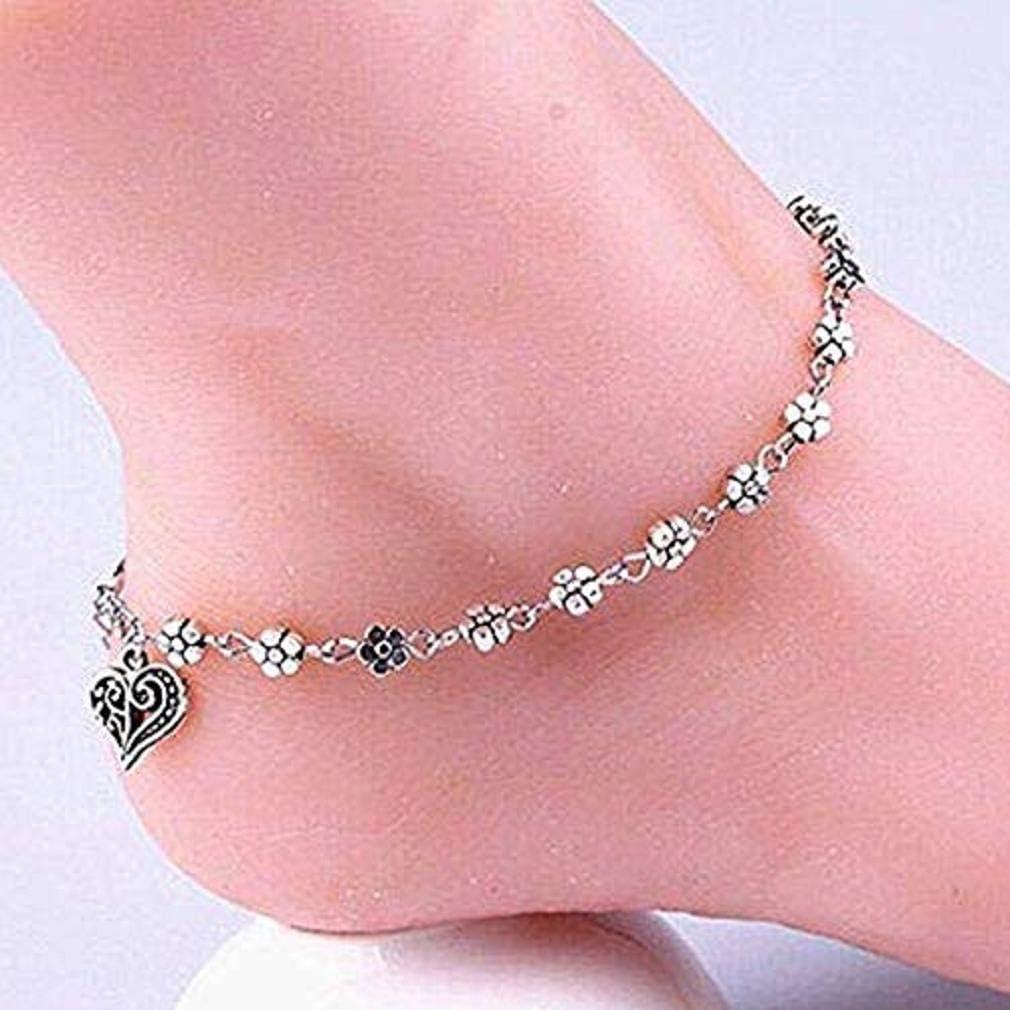 Silver Noopvan 1x Vintage Hollow Bracelet Anklet Fashion Simple Charming Women Heart-Shaped Pendant Adjustable Bracelet Anklet Jewelry Gift