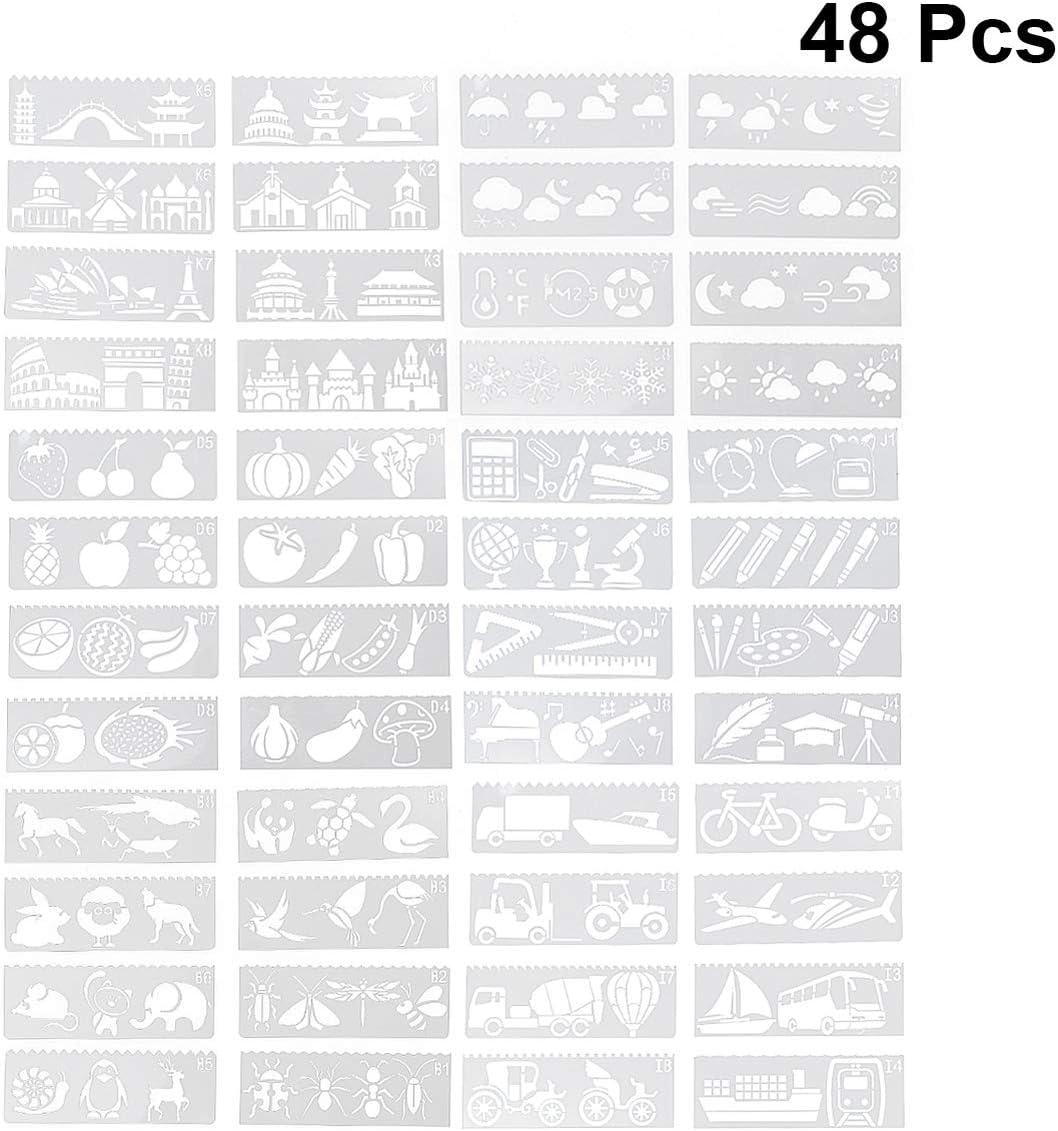 EXCEART 48 Pcs Peinture Pochoirs En Plastique Mod/èles De Dessin Ensemble Transport B/âtiments L/égumes Planificateur M/ét/éo Pochoirs Pour Journal Peinture DIY Artisanat Dessin Projet