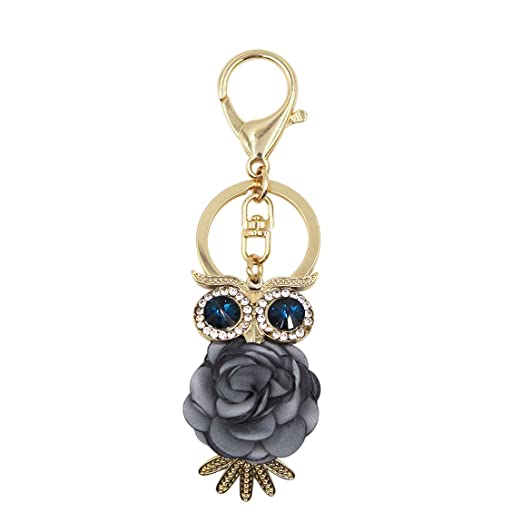 Aibearty Crystal Keychain Flower Keyring Bag Charm Pendant (Grey Rose Owl)  at Amazon Women s Clothing store  8cfcdd0bd4