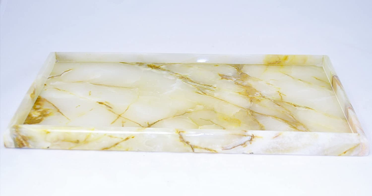 Nature Home Decor RT612WO White Onyx Bathroom Accessories Vanity Tray