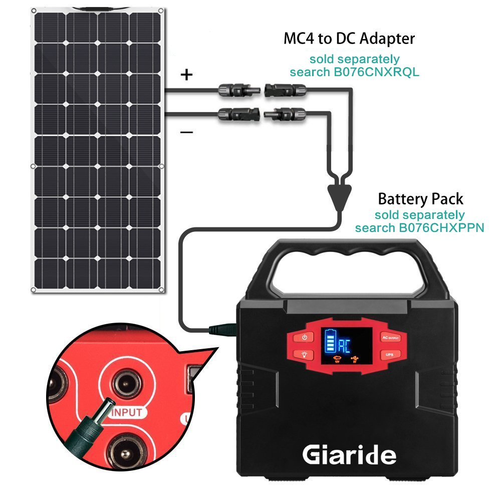 GIARIDE Solar Panel, 18V 12V 100W High-efficiency Monocrystalline Cell with MC4 Connectors Flexible Bendable Off-grid Solar Panel Charger for 12 Volt Battery, RV, Boat, Car, Motorhome, Camping by GIARIDE (Image #5)