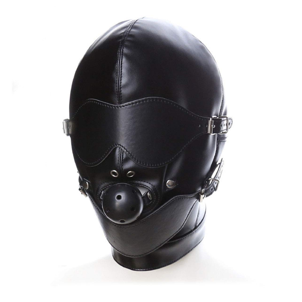 Santchcz Sex Mask Fetish BDSM Leather Head Hood Bondage Mouth Ball Gag Eye Mask Sex Products Erotic Costumes Toys for Couples Women Black by Santchcz
