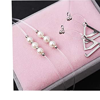 Women's Invisible Bra Straps,Rhinestone and Pearl Decoration 2-pack