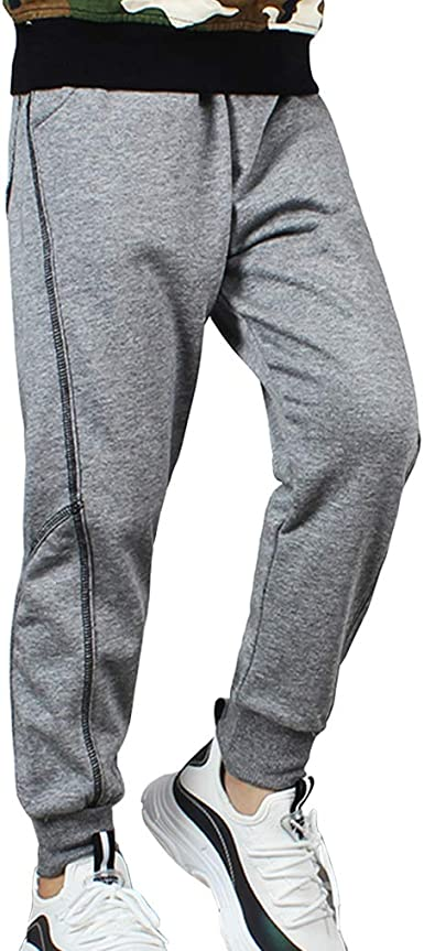 Kids Boy Sweatpants Cotton Jogger Athletic Pants Drawstring Sports Trousers Black 130