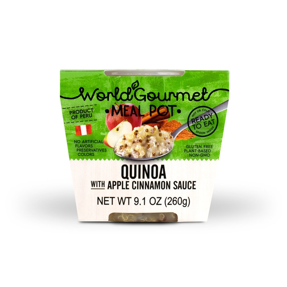 Quinoa Ready To Eat Meal By World Gourmet | Complete Plant-Based Protein Perfect for Breakfast, Lunch or Dinner Packed With A Delicious Apple Cinnamon Sauce (Pack of 6) by World Gourmet (Image #2)