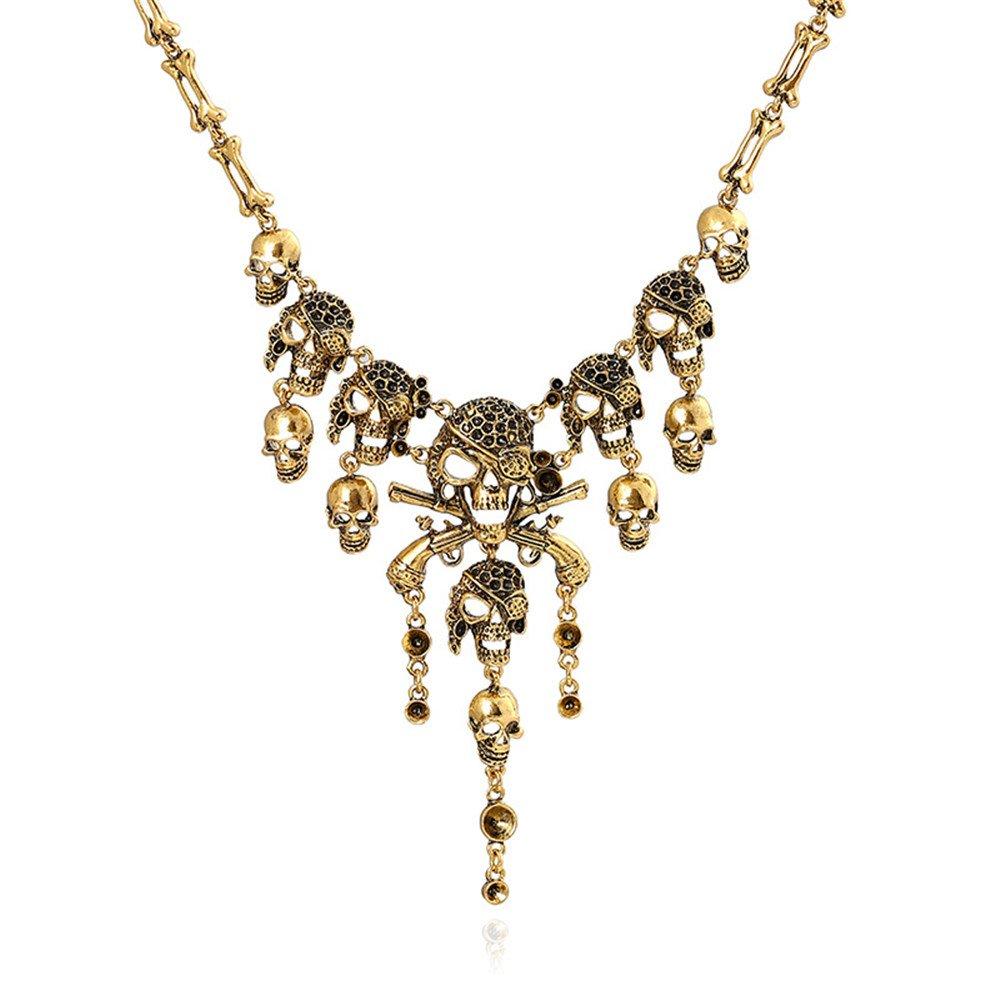 Fashion Multi-level Pirate Skull Tassel Charm Necklace Collar Bib for Women