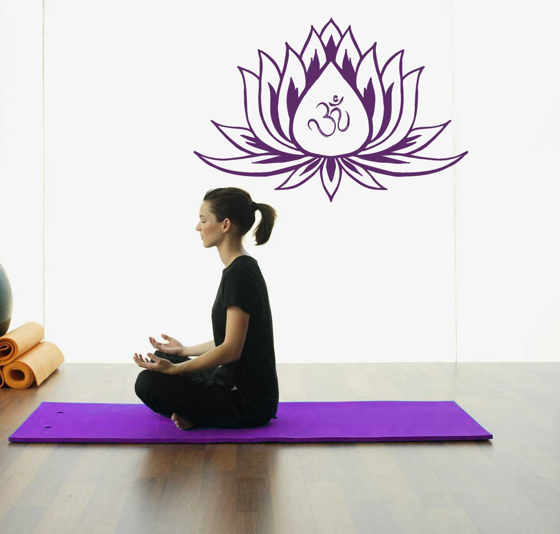 amazon com lotus flower wall decals vinyl decal with om sign yoga amazon com lotus flower wall decals vinyl decal with om sign yoga meditation art decor removable stylish sticker mural unique design for room l623 arts
