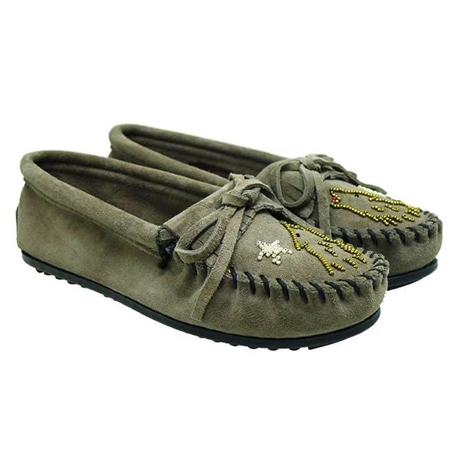 Mocasines Mujer Tipo Indio Minnetonka Moko Moc Gris: Amazon.es: Zapatos y complementos