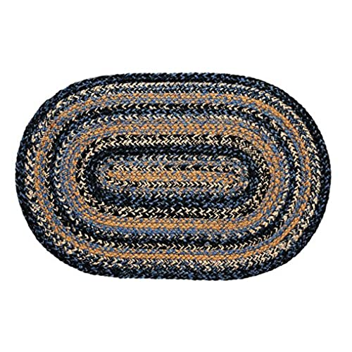 IHF Home Decor Country Style Braided Area Rug Oval 20 Inch X 30 Inch River  Shale Design Jute Fiber