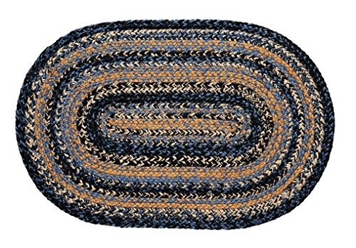 IHF Home Decor River Shale Jute Braided Rug Oval Dining Kitchen Indoor Outdoor Floor Carpet Blue, Black, Tan Woven Natural Fiber – 4 x 6