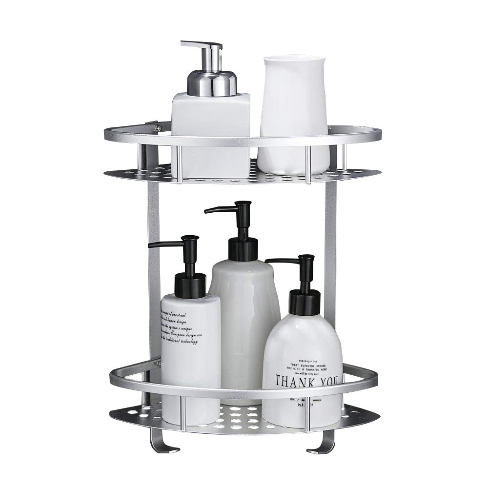 Gricol Bathroom shower Shelf shower caddy, Nail-free, No Damage, Self Adhesive, Space Aluminum, For Kitchen Bathroom