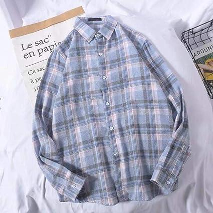 Estilo de camisa Camisa a cuadros de gran tamaño Tops para ...