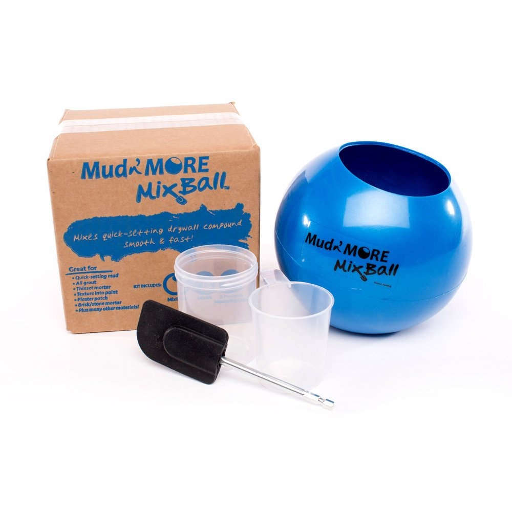 Mud n' More MixBall - Mixes Quick-Setting Drywall Mud, Paint, Grout, Mortar and More. Mixes Fast and Smooth with Any Drill. Easy Clean-Up, Wet or Dry by Mud n' More MixBall