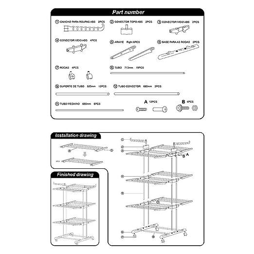 Airer Plegable De 3 Niveles Con Ruedas Para Ropa Interior Y Exterior Rack Ajustable Para Secado De Ropa: Amazon.es: Hogar