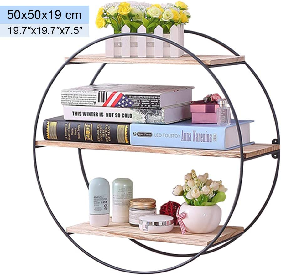 Unimore Round Wall Shelf Rustic Wood and Metal Floating Shelves Decorative Wall Shelf for Bedoom, Living Room, Kitchen and Office