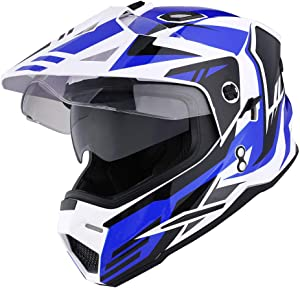 1Storm Dual Sport Motorcycle Motocross Off Road Full Face Helmet Dual Visor Storm Force Blue, Size Small