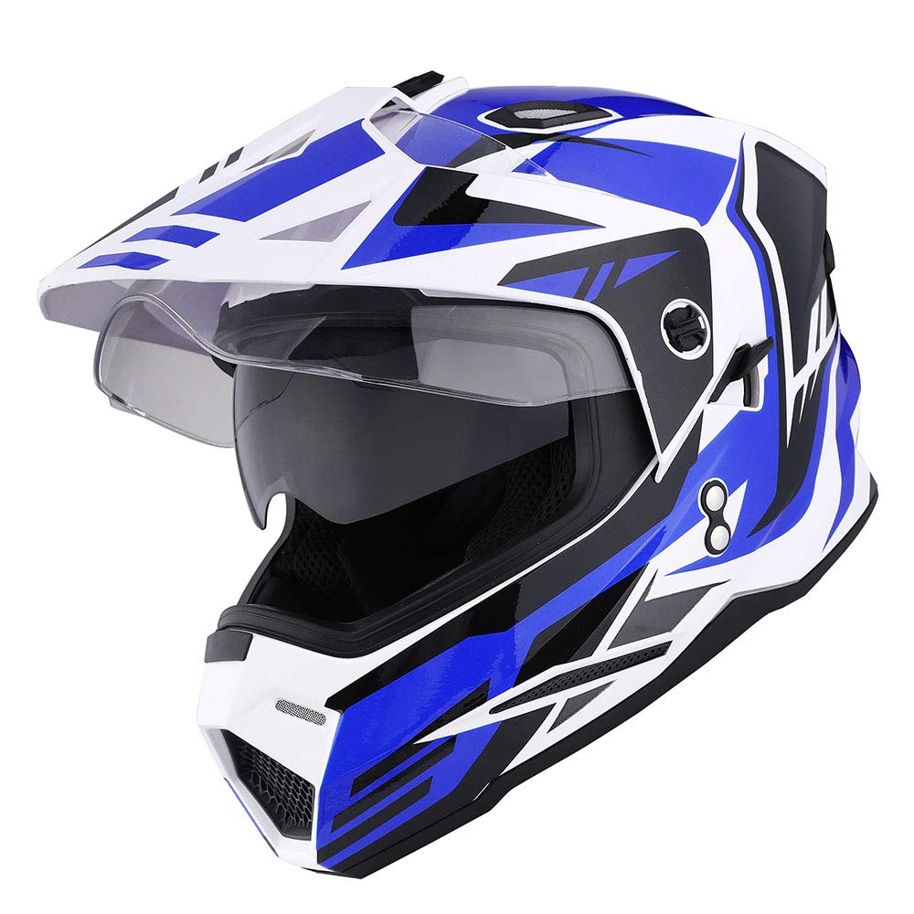 1Storm Dual Sport Motorcycle Motocross Off Road Full Face Helmet Dual Visor Storm Force Blue, Size XL by 1Storm