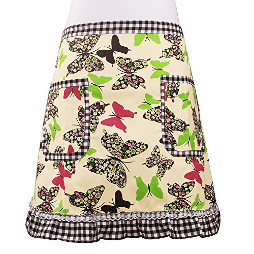 Love Potato Cute Green Butterfly Waist Apron Server Apron with 2 Pockets Commercial Restaurant Waitress Waiter for Girl Woman Half Bistro Aprons
