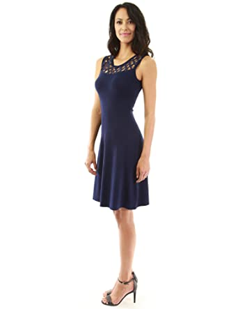 8d40eedd7ee33 PattyBoutik Women's Crochet Lace Fit and Flare Knit Dress (Navy Blue 14)