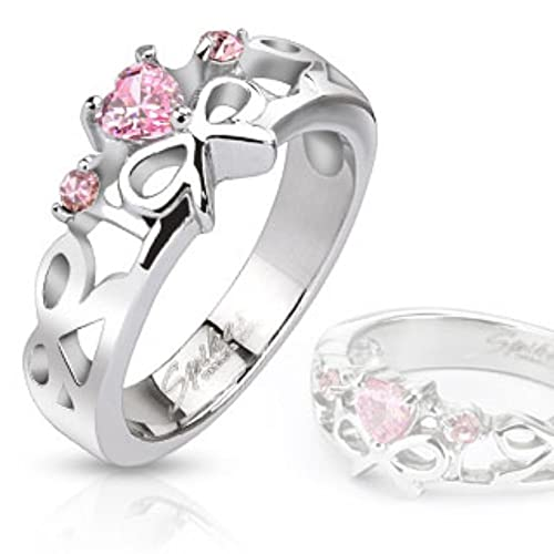 Pink Heart Gemmed Ribbons Cast Ring Stainless Steel