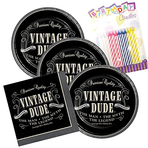 Vintage Dude Theme Plates and Napkins Serves 16 With Birthday Candles