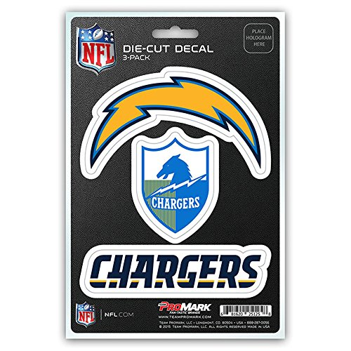 San Diego Chargers Decals: NFL San Diego Chargers Team Decal, 3-Pack