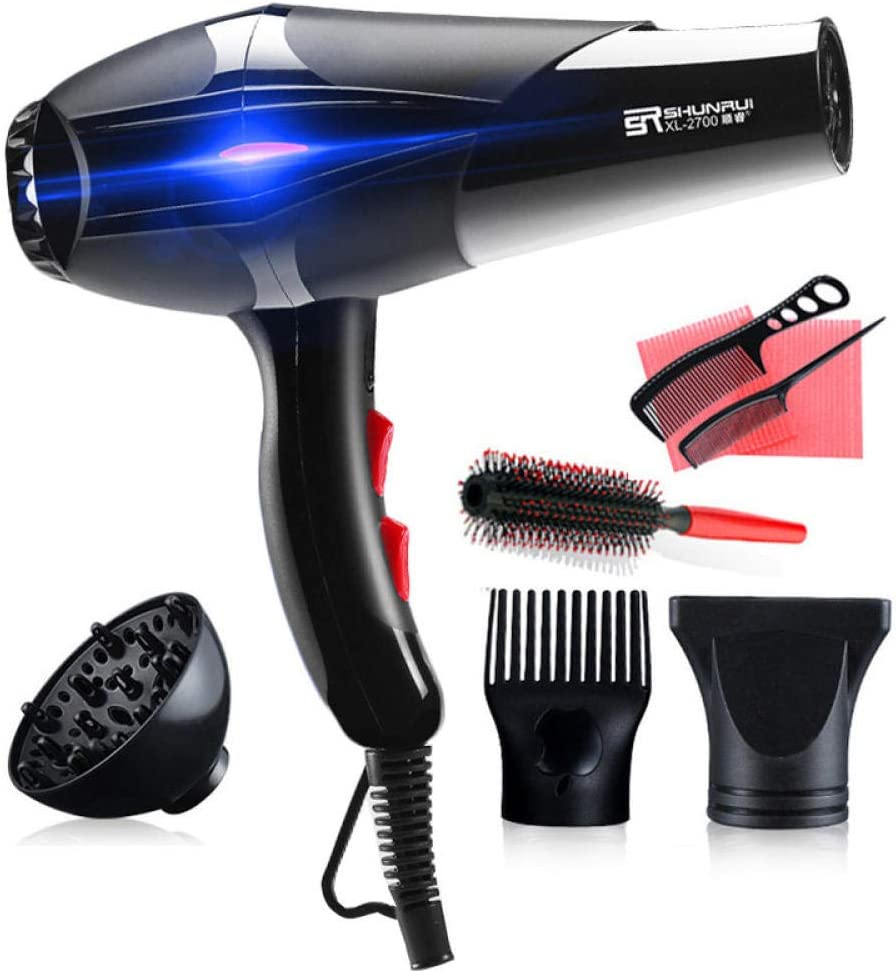 110v-210v Ionic Blow Dryers Straightener Pro Blu-ray Hot/Cold Strong Power Hair Dryer Electric Hairdressing Equipment Hairdryer-1400w2in1 no Blu-ray 1400w2in1 No Blu-ray 8X3Ss