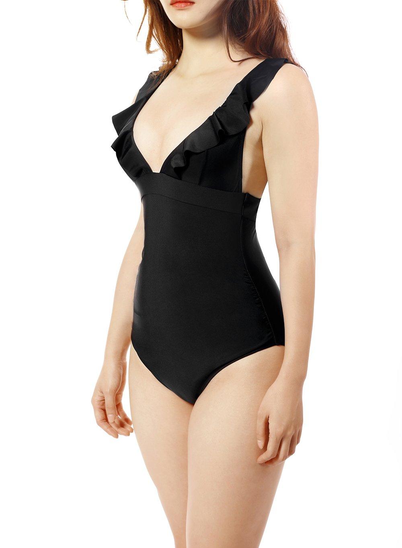 Soyml Women Ruffle Swimsuit Monokini Tummy-Hide One Piece With Cross Tie Back Swimwear (FBA)
