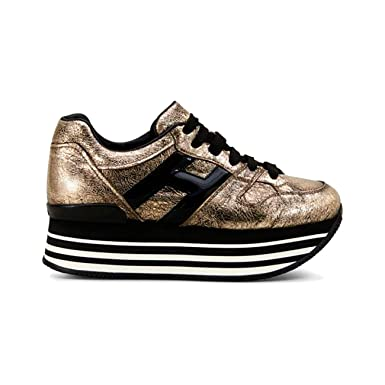 9b60d09f178fb Amazon.com  Hogan Maxi H222 Sneakers Metallic Leather Gold