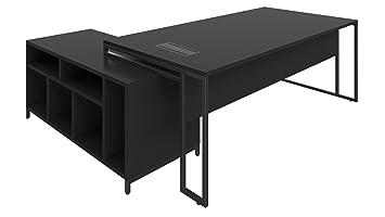 Salons bureau noir meubles par design acier metal plateau bois