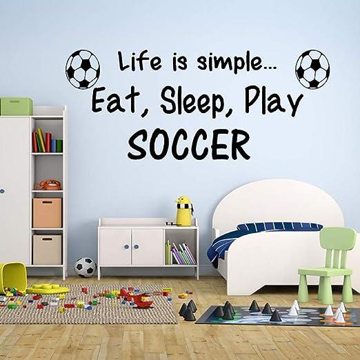 wukongsun Tatuajes de Pared Eat Sleep Play Football Boy Dormitorio ...