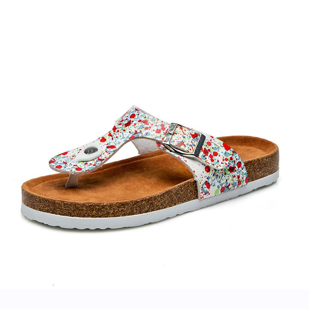 Feibeauty Tongs Femme Sandales Plates Femmes, Chaussures de Ville Été à Talons Plats Tongs Claquettes avec