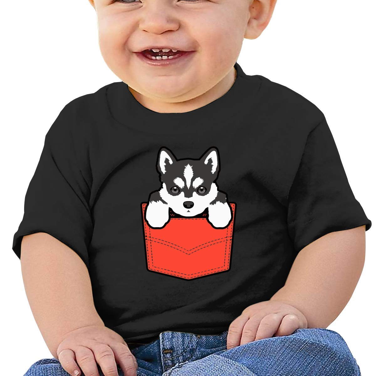 LXLING Husky in Pocket Newborn Baby Short Sleeve Crewneck T-Shirt