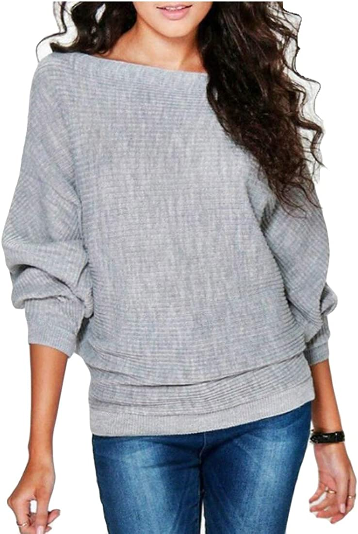 dahuo Womens Loose Pullover Tops Casual Batwing Sleeve Knit Jumper