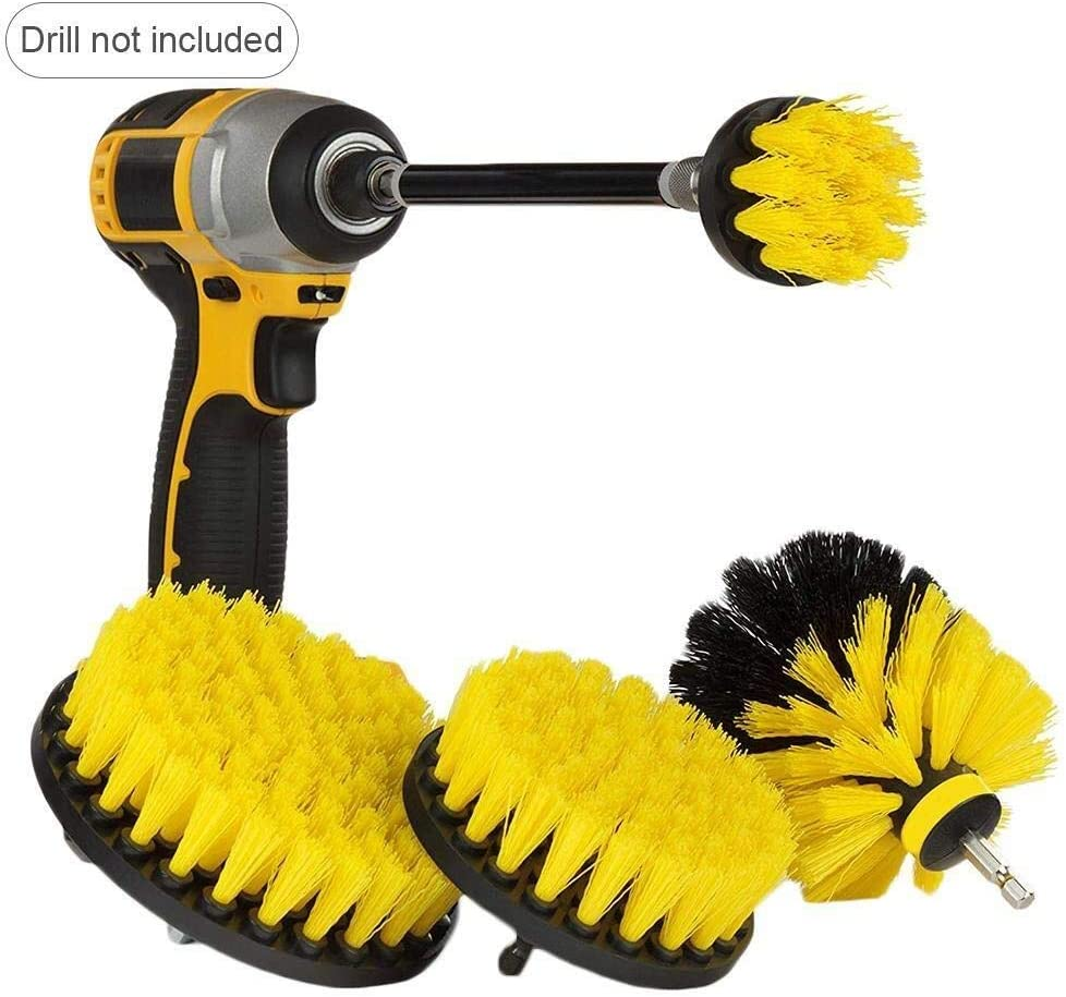 Deck Cerami Boat Motorcycle Accessories for Cleaning Car Fiberglass Flooring Household Drill Brush Scrub Kit Hull Brick 5 PCS Drill Powered Cleaning Brush Attachments Set with Extension Rod