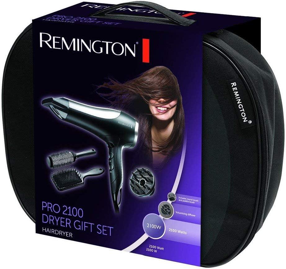 Remington D5017 - Set Secador de Pelo, 2 Cepillos, Estuche, Secador Iónico, Difusor y 2 Concentradores, 2100 W, Negro y Gris: Amazon.es: Salud y cuidado personal