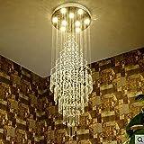 YOUZHENGJIA D23.6'' X H70.8'' Modern Round Lustre Rain Drop K9 Crystal Chandelier