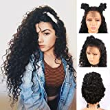 Andria Hair Lace Front Wig Synthetic Wigs Loose Curly Heat Resistant Hair Curly Wig Synthetic Hair Wigs with Baby Hair Bleached Knots Pre Plucked Wigs for Black Women ( Black Hair 24 )