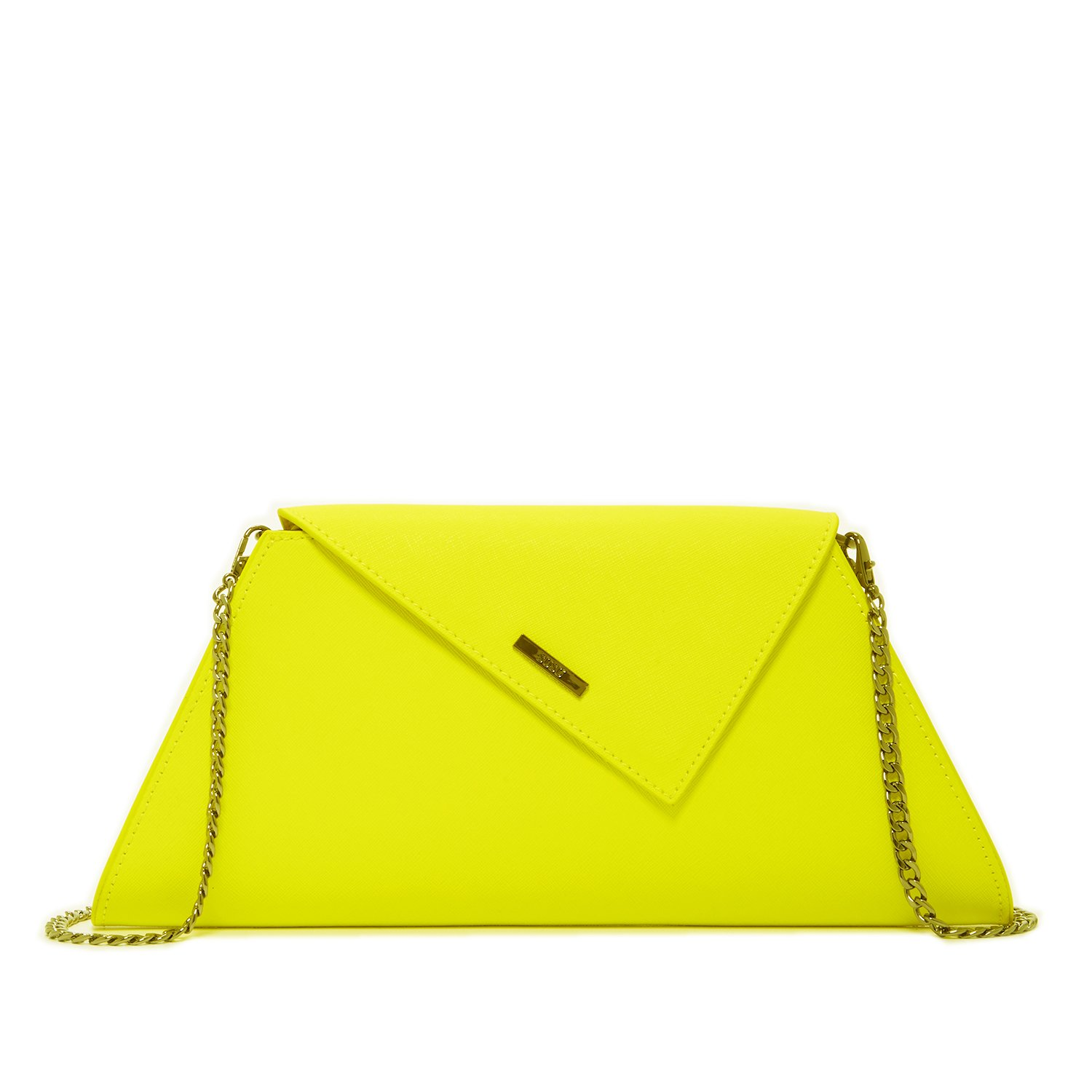 Yellow Purse Clutches for Women - Leather Evening Bag Lemon Summer Clutch for Wedding Bridal Gift Purses Designer Fashion Handbags Ladies Minimalist Envelope Bags with Crossbody Shoulder Chain Strap