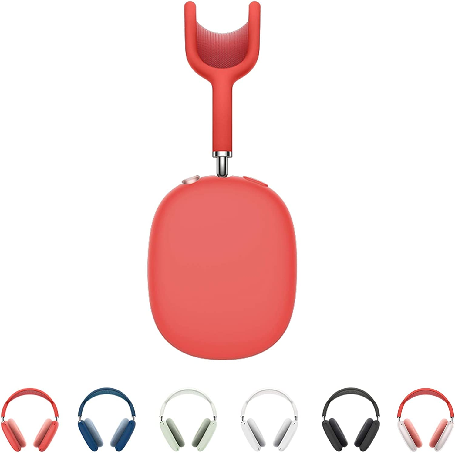 Compatible with Apple AirPods Max, Protective Silicone Sleeve Case for Air Pods Max Headphone, Soft & Long Lasting Headset Protective Cover (Red)