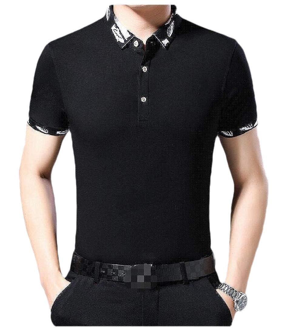 pipigo Mens Print Short Sleeve Button Tee Lapel Polo Shirt