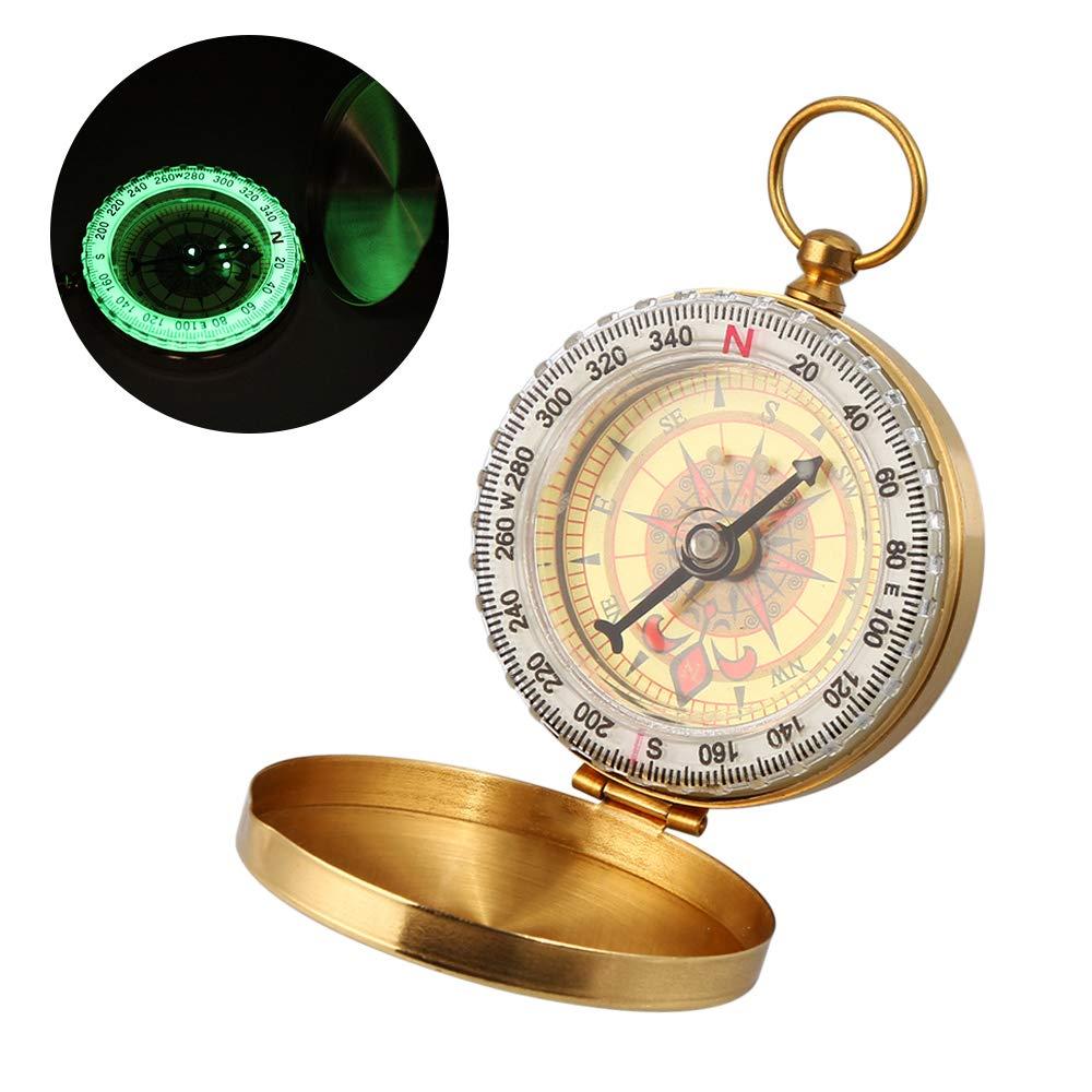Nomisty Kompass, Wasserdichter Messing Kompass, Portable Taschenuhr Kompass, Taschenkompass, Marschkompass, Sprungdeckel Compass für Camping, Wandern und andere Outdoor-Aktivitäten