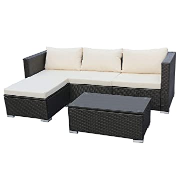 Rattan lounge grau  Amazon.de: SVITA Queens Poly Rattan Sitzgruppe Couch-Set Ecksofa ...