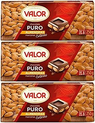 Valor - chocolate con almendras 250 gr. - [Pack de 3]: Amazon.es ...