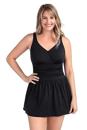 f46031b6fcf PERONA Plus Size Swimwear Tummy Control Swimdress Size12-28 One Piece  Swimsuit with Flared Skirt