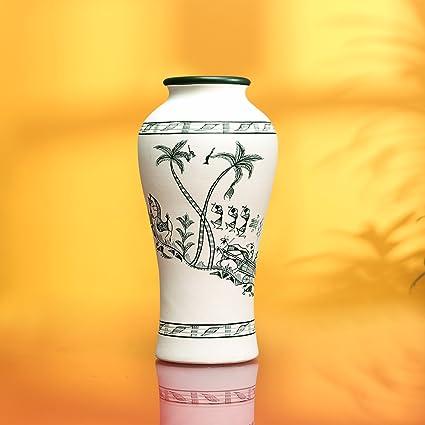 Amazon Exclusivelane Terracotta Vase Warli Hand Painting