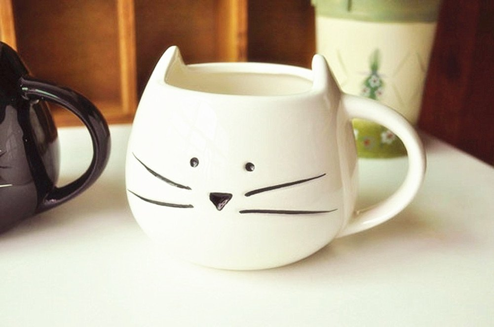 Charming New Lovely Cute Little White Cat Coffee Milk Ceramic Mug Cup Christmas  Birthday Best Gift: Amazon.ca: Home U0026 Kitchen