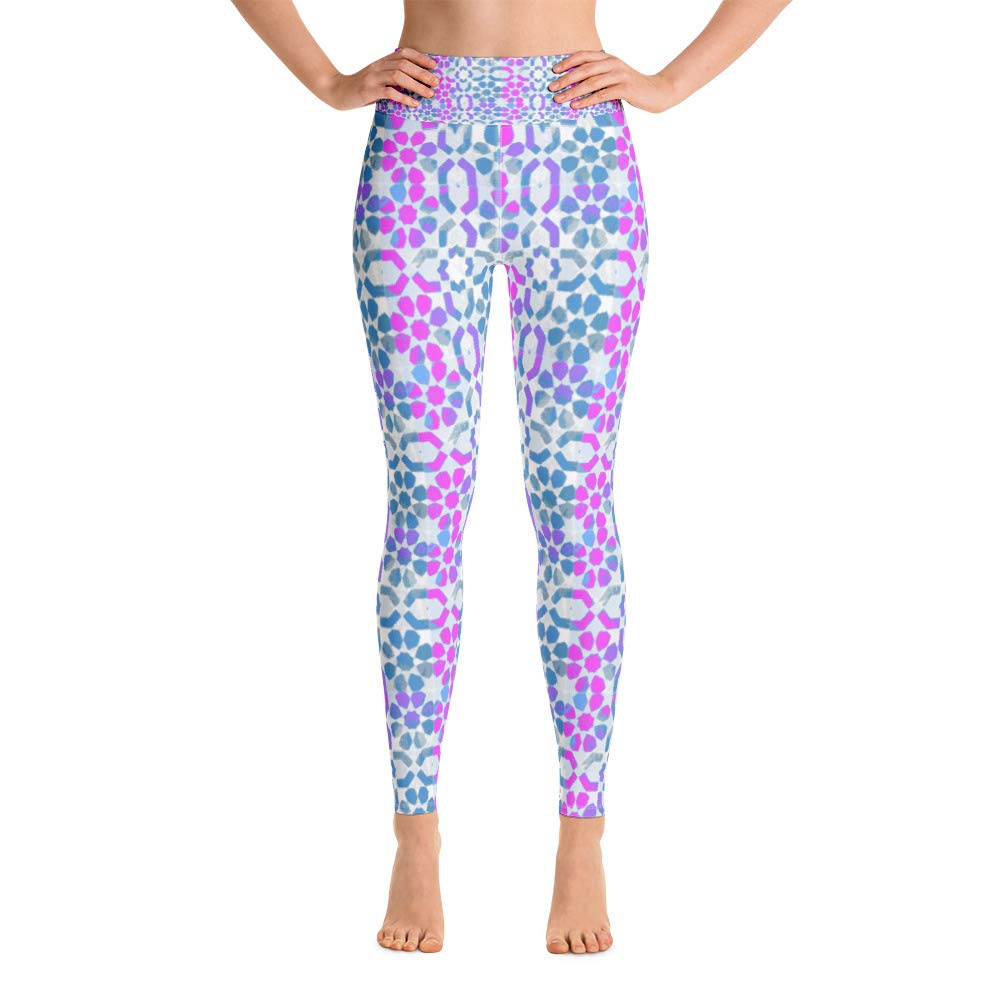 Frenethika Ancestra Yoga and Fitness Leggings bluee and Pink Patterns
